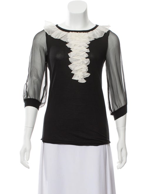 Valentino Ruffle-Trimmed Long Sleeve Top Black
