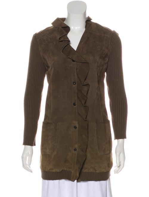 Valentino Wool-Blend Suede Coat Olive