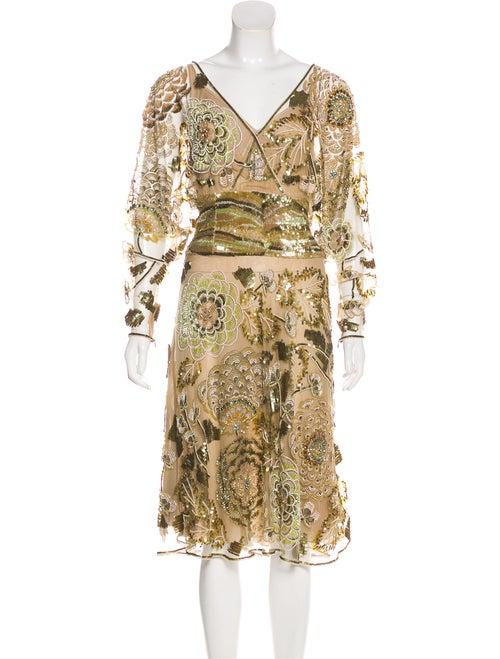 Valentino Sequined Silk Dress Tan