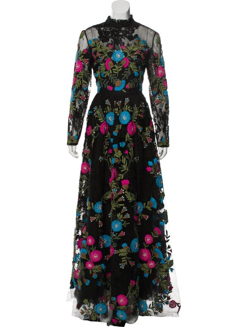Valentino Floral Embroidered Gown Black