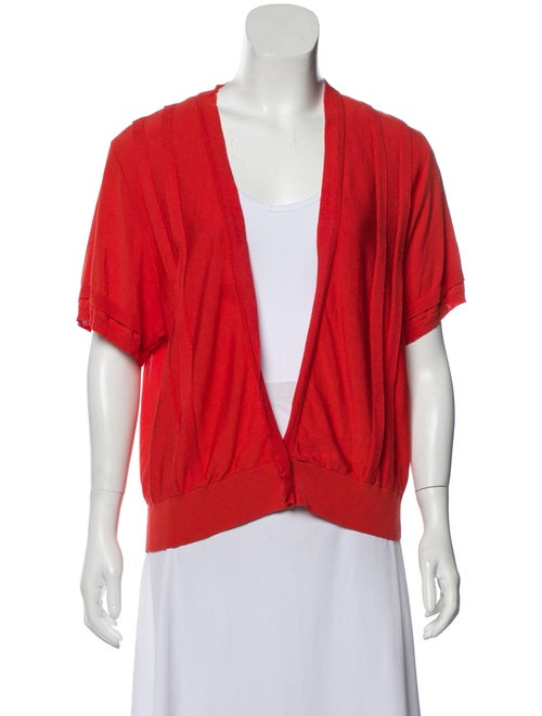 Valentino Short Sleeve Knit Cardigan Orange