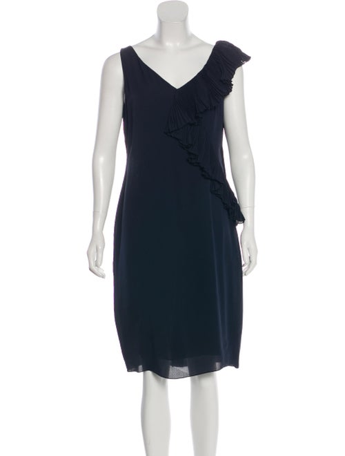 Valentino Ruffled Silk Dress Navy