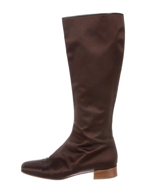 Valentino Satin Knee-High Boots Brown