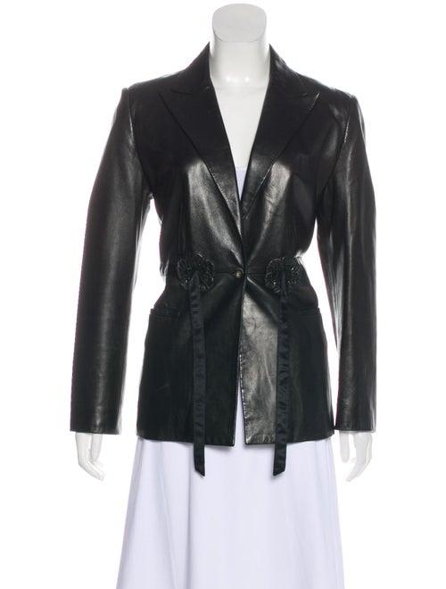 Valentino Leather Embellished Blazer Black