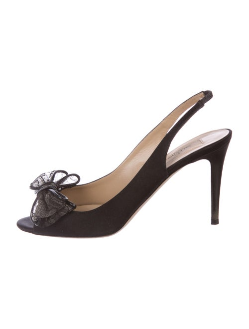 Valentino Satin Slingback Pumps Black