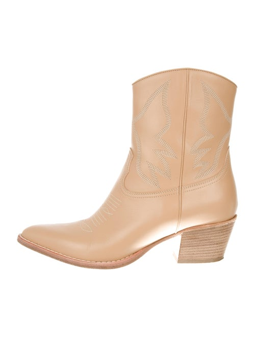 Valentino Cowboy Ankle Boots Beige