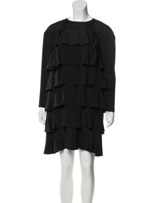 Valentino Silk Ruffle Dress Black