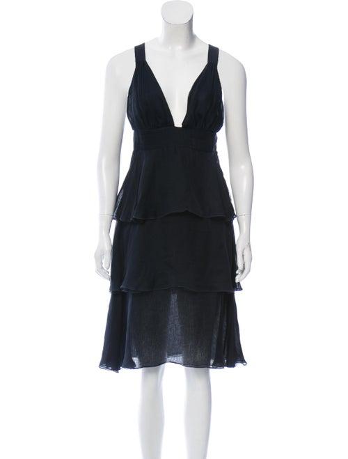 Valentino Silk Midi Dress Navy