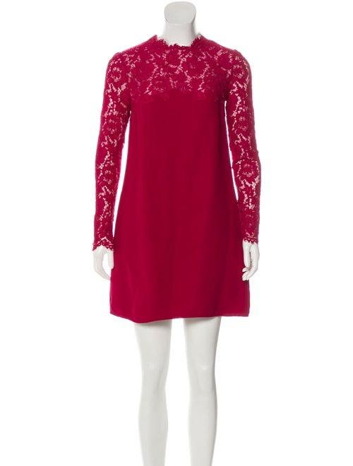 Valentino Mini Lace Dress Magenta