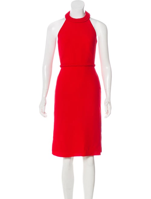 Valentino Silk Halter Dress Red