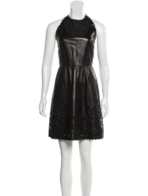 Valentino Leather Scalloped Dress Black