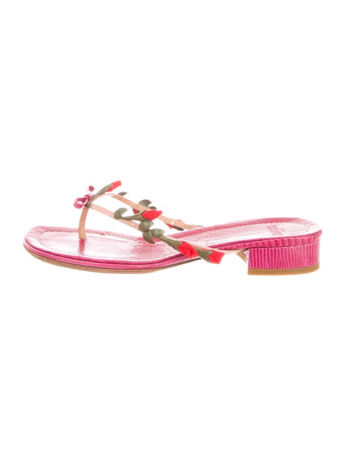 Valentino Leather Thong Sandals Magenta
