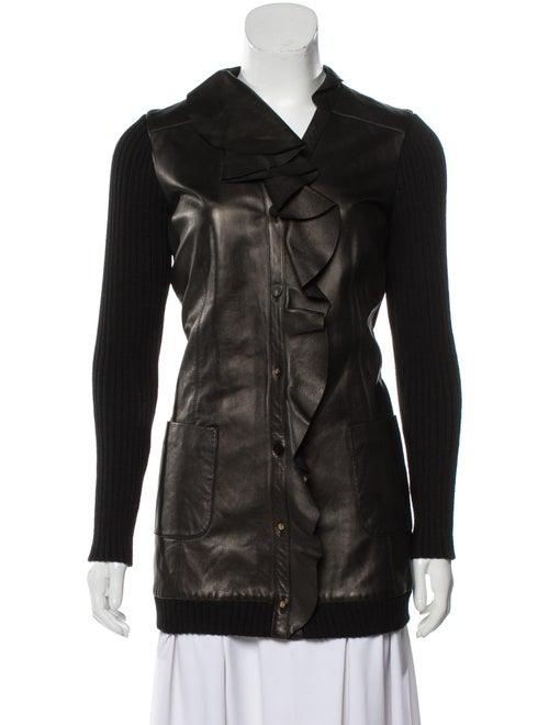 Valentino Leather-Paneled Wool Cardigan Black