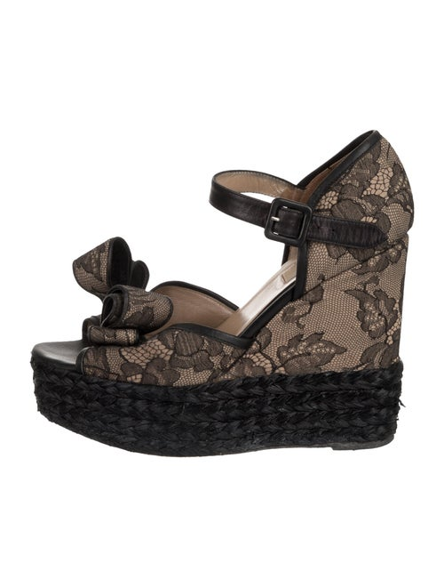 Valentino Lace Bow Wedges Black