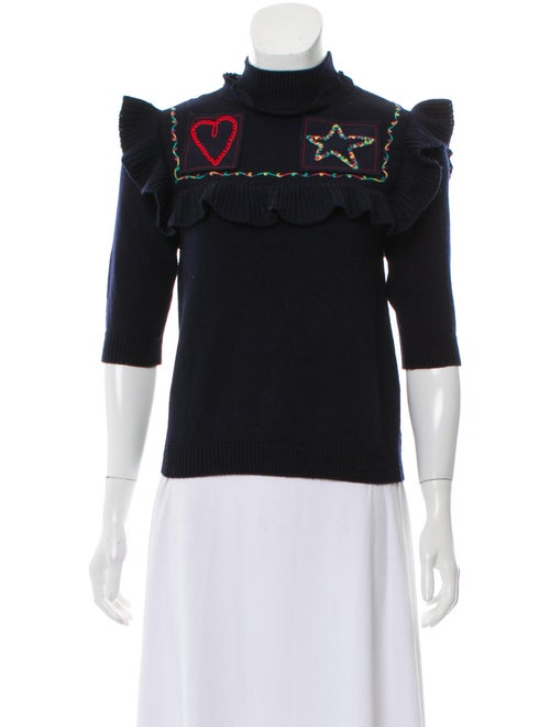 Valentino Wool Embroidered Sweater Navy