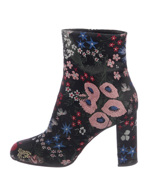 Valentino Embroidered Ankle Boots Black