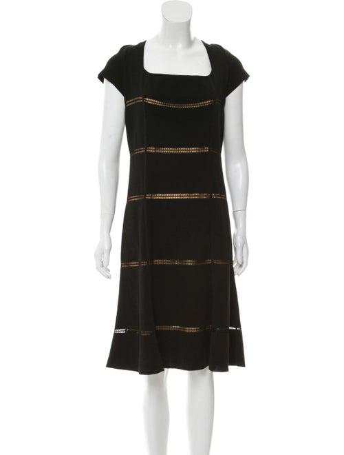 Valentino Square Neck Midi Dress Black