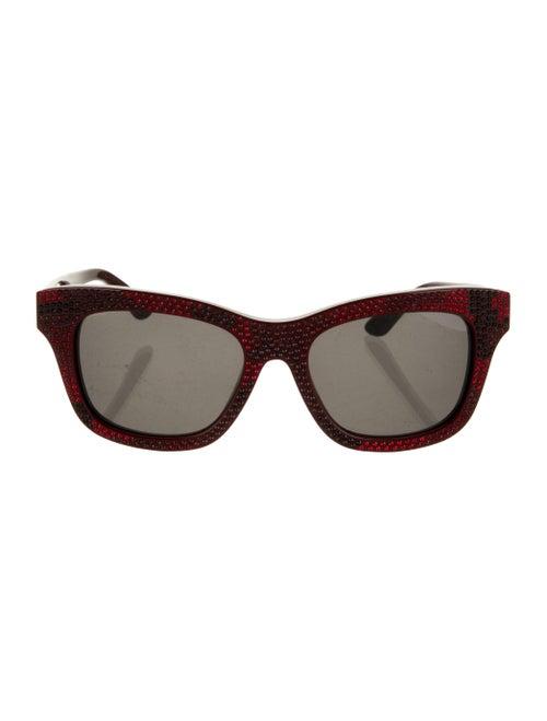 Valentino Embellished Wayfarer Sunglasses Red
