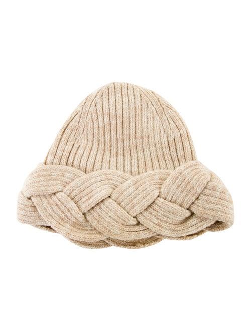 Valentino Lambswool Knit Beanie Beige
