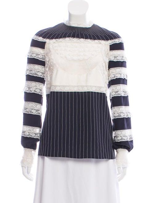 Valentino Silk Striped Sweatshirt Blue