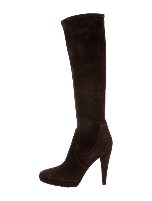Valentino Suede Knee-High Boots Brown