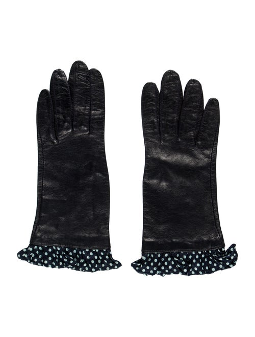 Valentino Vintage Leather Gloves Black