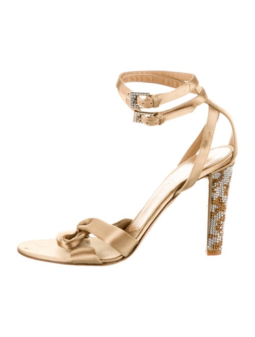 Valentino Satin Embellished Sandals Brown