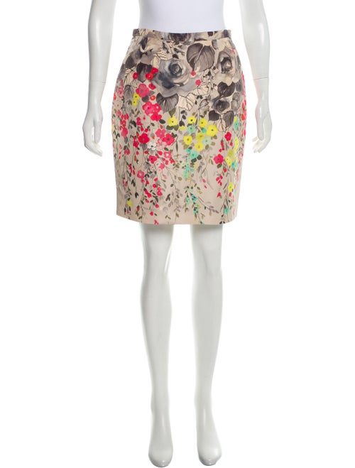 Valentino Floral Print Satin Skirt multicolor