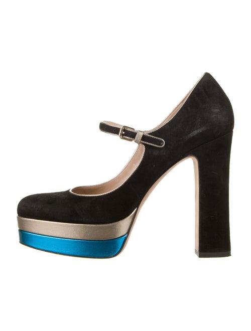 Valentino Suede Platform Mary Jane Pumps Black