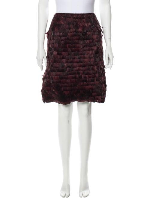 Valentino Feather Trim Knee-Length Skirt Purple