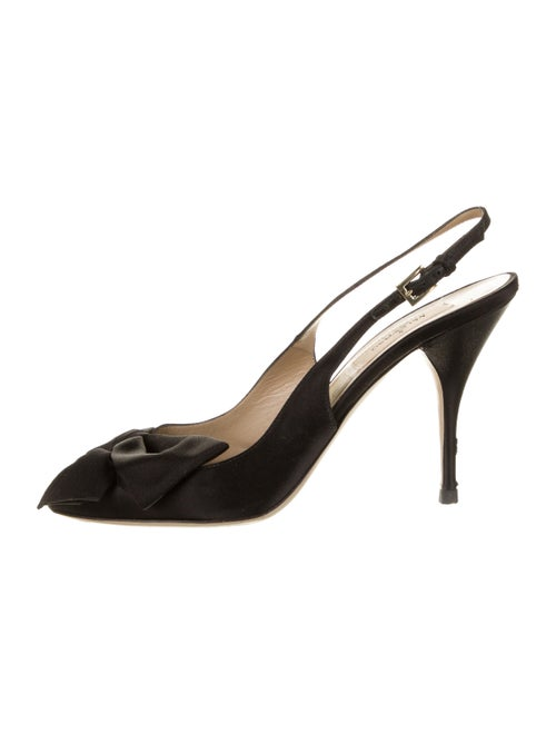 Valentino Satin Slingback Sandals Black