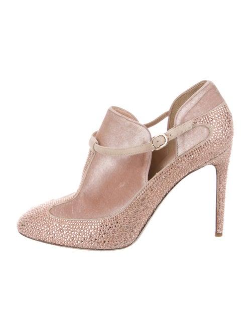 Valentino Velvet Ankle Boots Pink