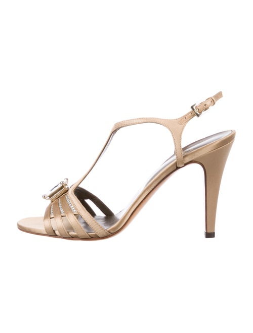 Valentino Satin Ankle Strap Sandals Nude