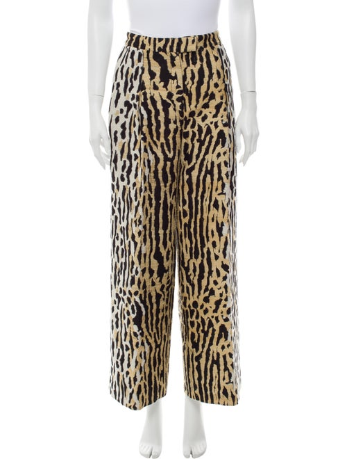 Valentino Animal Print Wide Leg Pants
