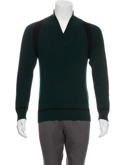 Valentino Wool Shawl Collar Sweater green