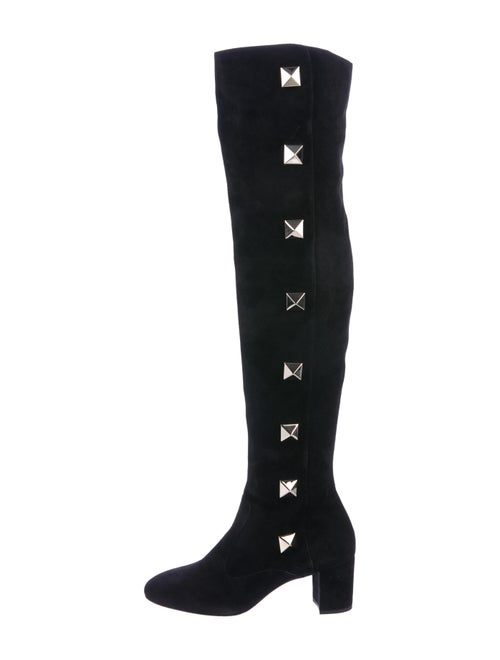 Valentino Rockstud Suede Over-The-Knee Boots Black