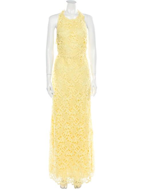 Valentino Silk Long Dress Yellow