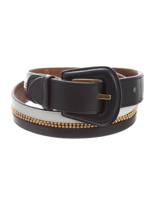 Valentino Embellished Leather Belt Navy