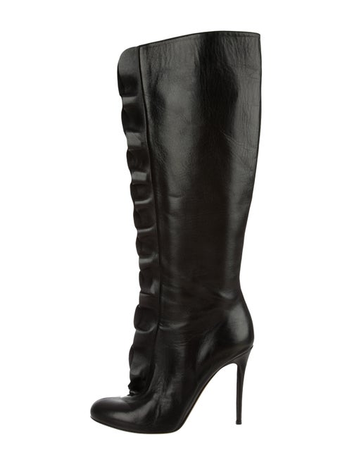 Valentino Ruffle Leather Knee-High Boots Black