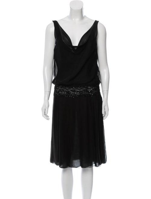 Valentino Silk Embellished Dress Black