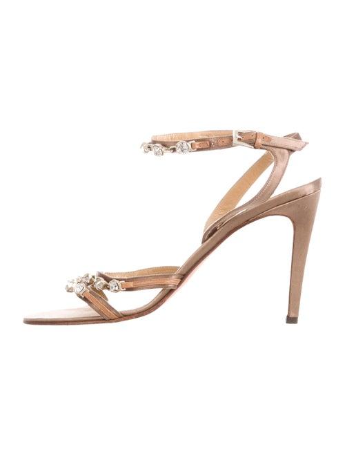 Valentino Embellished Satin Sandals Brown