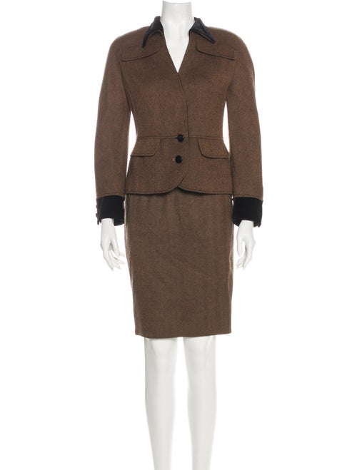 Valentino Vintage Tweed Pattern Skirt Suit Brown