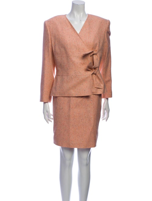 Valentino Tweed Pattern Skirt Suit Pink