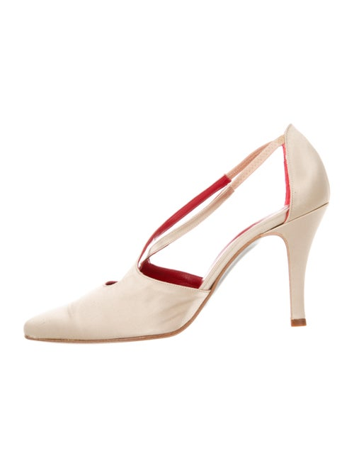 Valentino Couture Satin Pointed-Toe Pumps Tan