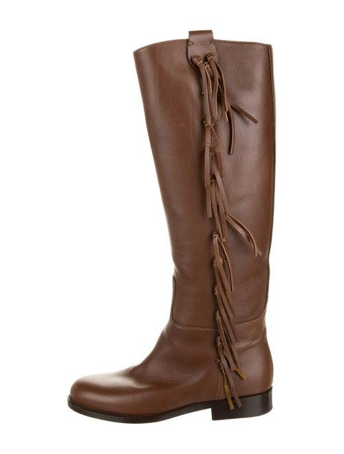 Valentino Fringe Knee-High Boots Brown