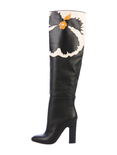 Valentino Floral Over-The-Knee Boots Black