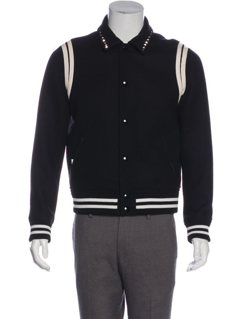 Valentino Stud Embroidered Varsity Jacket black