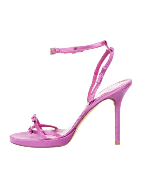 Valentino Satin Bow Accented Sandals Purple