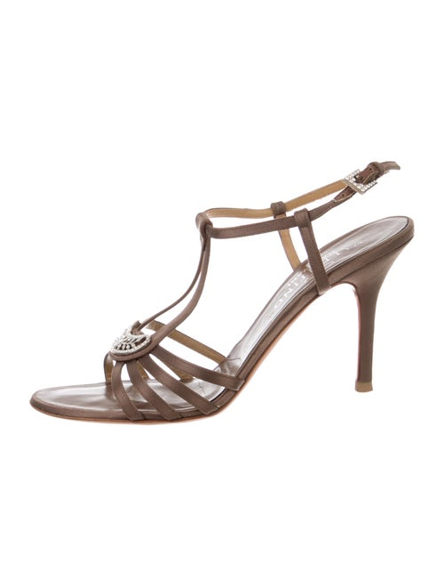Valentino Satin Embellished Ankle Strap Sandals