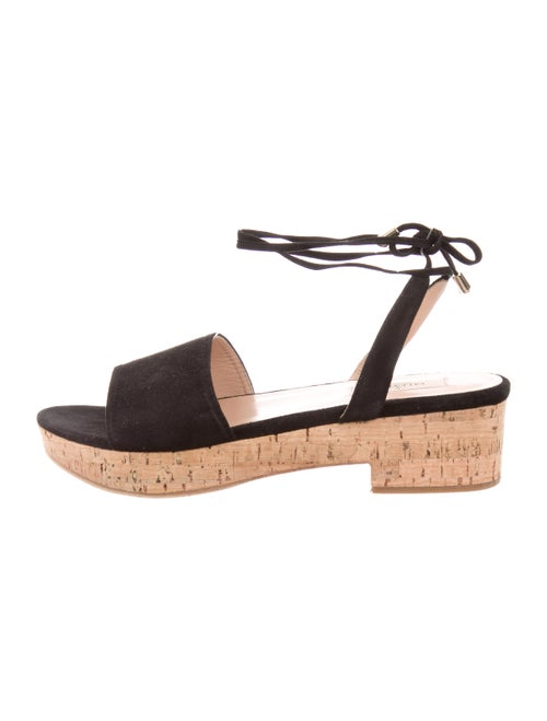 Valentino Suede Lace-Up Sandals Black